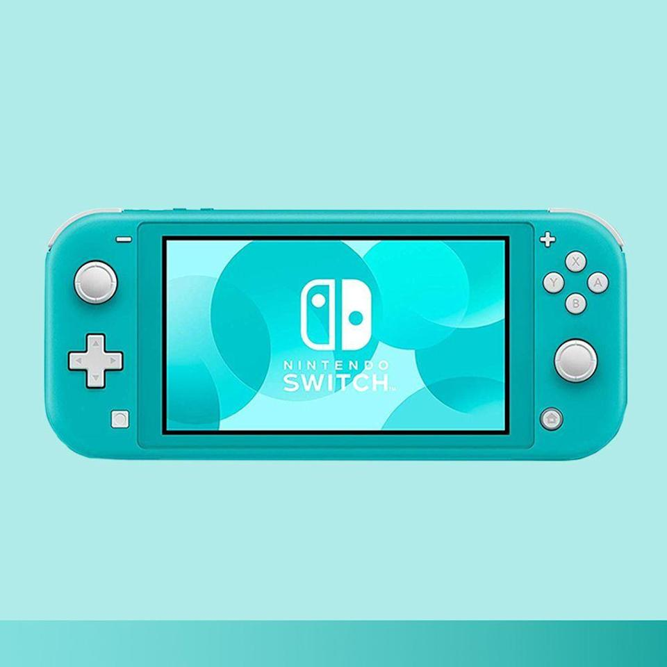 """<p><strong>Nintendo</strong></p><p>amazon.com</p><p><strong>$199.99</strong></p><p><a href=""""https://www.amazon.com/dp/B07V2BBMK4?tag=syn-yahoo-20&ascsubtag=%5Bartid%7C2089.g.376%5Bsrc%7Cyahoo-us"""" rel=""""nofollow noopener"""" target=""""_blank"""" data-ylk=""""slk:Shop Now"""" class=""""link rapid-noclick-resp"""">Shop Now</a></p><p>The ultimate device that gamers are hoping to see under the tree this season, the Nintendo Switch Lite offers the ease of portable, handheld gaming while on the go with a sleek, lightweight design and fully integrated controls. </p>"""
