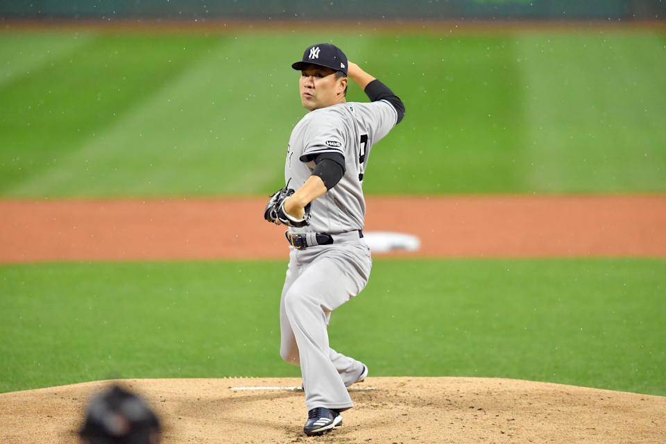 CLEVELAND, OHIO - SEPTEMBER 30: Starting pitcher Masahiro Tanaka #19 of the New York Yankees pitches during the first inning of Game Two of the American League Wild Card Series against the Cleveland Indians at Progressive Field on September 30, 2020 in Cleveland, Ohio. (Photo by Jason Miller/Getty Images)