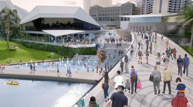 An artist's impression of crowds using the Torrens Footbridge.