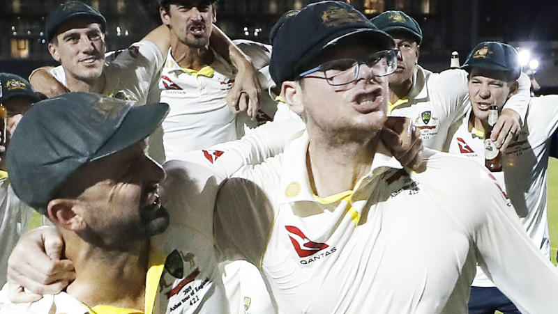 Steve Smith, pictured here during Australia's victory celebrations.