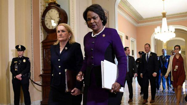 PHOTO: House Democratic impeachment managers Rep. Sylvia Garcia, second from left, and Rep. Val Demmings, third from left, arrive on the Senate side of Capitol Hill in Washington, Feb. 3, 2020, for the impeachment trial of President Donald Trump. (Susan Walsh/AP, File)