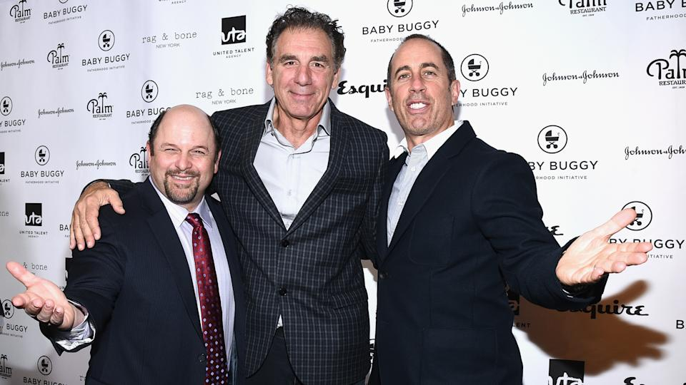 BEVERLY HILLS, CA - MARCH 04:  (L-R) Actors Jason Alexander, Michael Richards and host Jerry Seinfeld attend the Inaugural Los Angeles Fatherhood Lunch to Benefit Baby Buggy hosted by Jerry Seinfeld at The Palm Restaurant on March 4, 2015 in Beverly Hills, California.