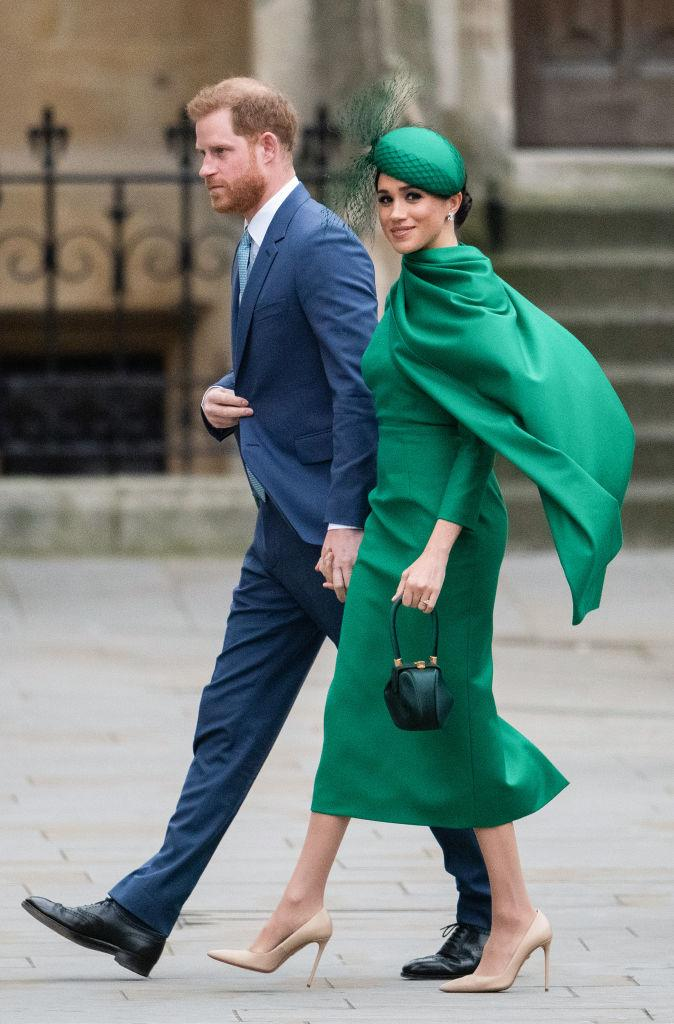 <p>Markle ended her time as senior member of the royal family in a emerald green ensemble with cape detail at the 2020 Commonwealth Day Service at Westminster Abbey. <em>(Image via Getty Images)</em></p>