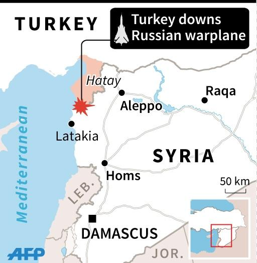 Map of Syria and southern Turkey locating downng of Russian warplane in border region (45 x 46 mm) (AFP Photo/)