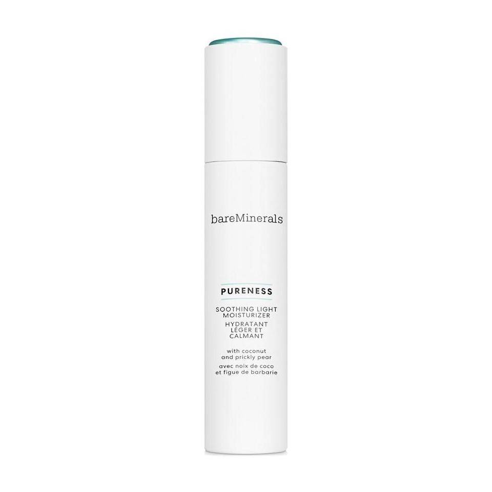 """<p>Made with only about a dozen ingredients — two of which are coconut-derived — the new BareMinerals Pureness Soothing Light Moisturizer keeps it simple yet effective, assuming you're looking for lots of hydration in a light, soothing lotion. It feels fantastic going on and your skin will feel fantastic hours later too, thanks to its long-lasting moisture.</p> <p><strong>$35</strong> (<a href=""""https://shop-links.co/1693716663834404242"""" rel=""""nofollow noopener"""" target=""""_blank"""" data-ylk=""""slk:Shop Now"""" class=""""link rapid-noclick-resp"""">Shop Now</a>)</p>"""