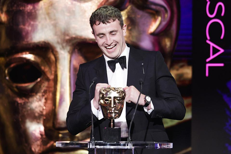 <p>Paul Mescal accepts the best actor award for his performance in <i>Normal People </i>at the BAFTA TV awards on June 6 in London. </p>