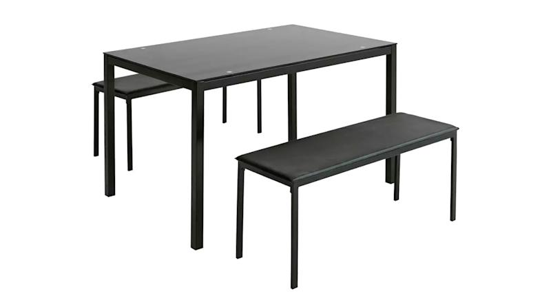 Lido Glass Dining Table & 2 Black Benches (Argos)