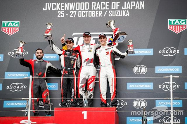 "Podium: Race winner Johan Kristoffersson, SLR Volkswagen Volkswagen Golf GTI TCR, second place Esteban Guerrieri, ALL-INKL.COM Münnich Motorsport Honda Civic Type R TCR, third place Kevin Ceccon, Team Mulsanne Alfa Romeo Giulietta TCR <span class=""copyright"">WTCR </span>"