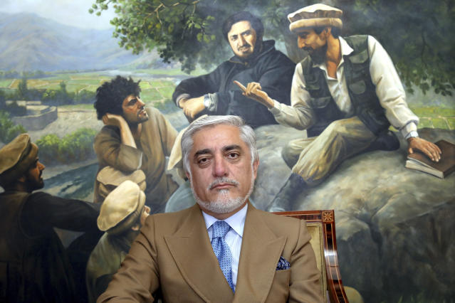 In this Thursday, Sept. 26, 2019 photo, Abdullah Abdullah a candidate in Afghanistan's upcoming presidential election poses for a photo during an interview at his home, in Kabul, Afghanistan. While there will be 18 names on the presidential ballot when Afghans go to the polls on Sept. 28 only five, including Abdullah, have been campaigning after several suspended their campaigns believing a peace deal with the Taliban was imminent. (AP Photo/Ebrahim Noroozi)