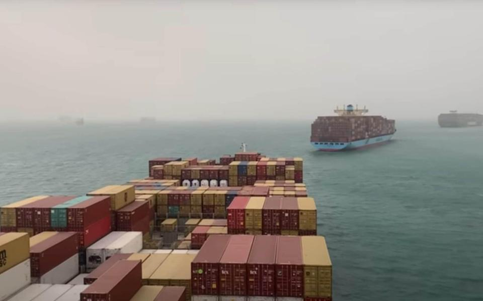 The blockage caused a traffic jam of container ships in the Suez Canal