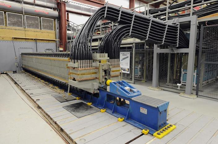 US Navy image shows the Electromagnetic Railgun which employs vast amounts of electromagnetic energy to fire a projectile and represents a paradigm shift in ballistic technology (AFP Photo/John F. Williams)