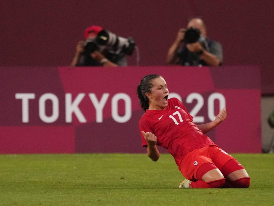 Canada's Jessie Fleming celebrates her goal against the USWNT.