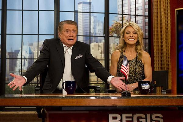 """Regis Philbin on his final episode of """"Live! With Regis and Kelly,"""" from which he retired in 2011 at the age of 80. At right is cohost Kelly Ripa. <span class=""""copyright"""">(Charles Sykes / Associated Press)</span>"""