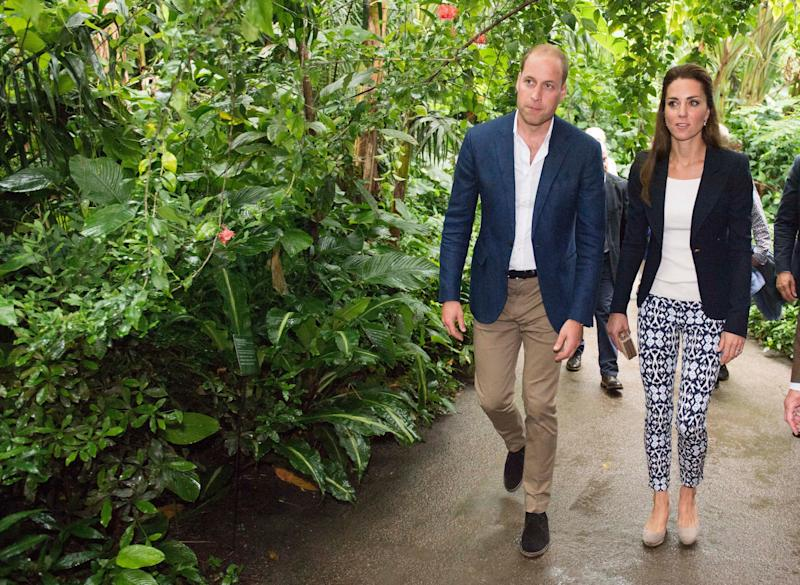 The Duke and Duchess of Cambridge explore the Rainforest Biome as they visit the Eden Project in southwest England on Sept. 2, 2016. (ARTHUR EDWARDS via Getty Images)