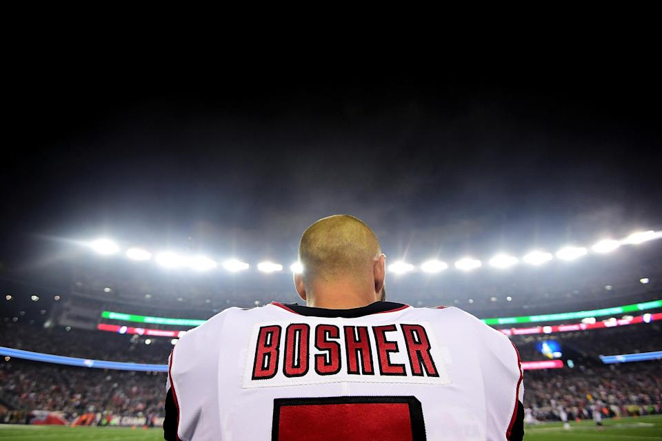 """Falcons punter Matt Bosher got """"randomly"""" selected for a drug test after laying a massive hit in Sunday's game against the Panthers. (Getty Images)"""