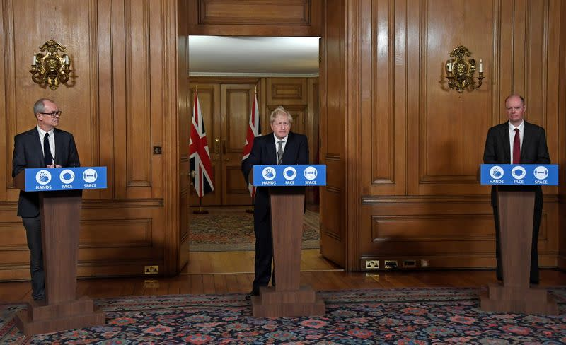 Britain's Prime Minister Boris Johnson speaks during a press conference at 10 Downing Street in London