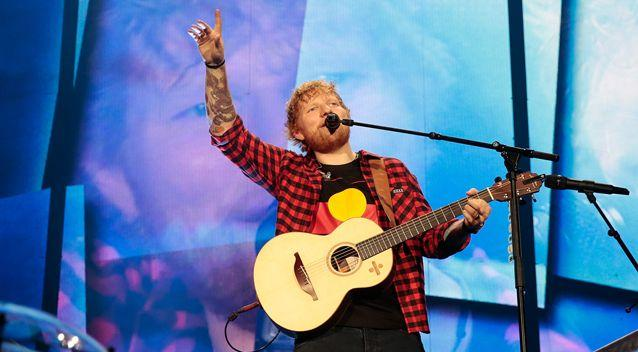 Ed Sheeran performs at Etihad Stadium on Friday in Melbourne. Photo: Getty