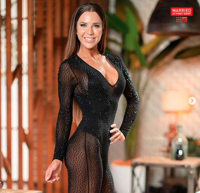 Married At First Sight's Coco Stedman in a see-through bodysuit