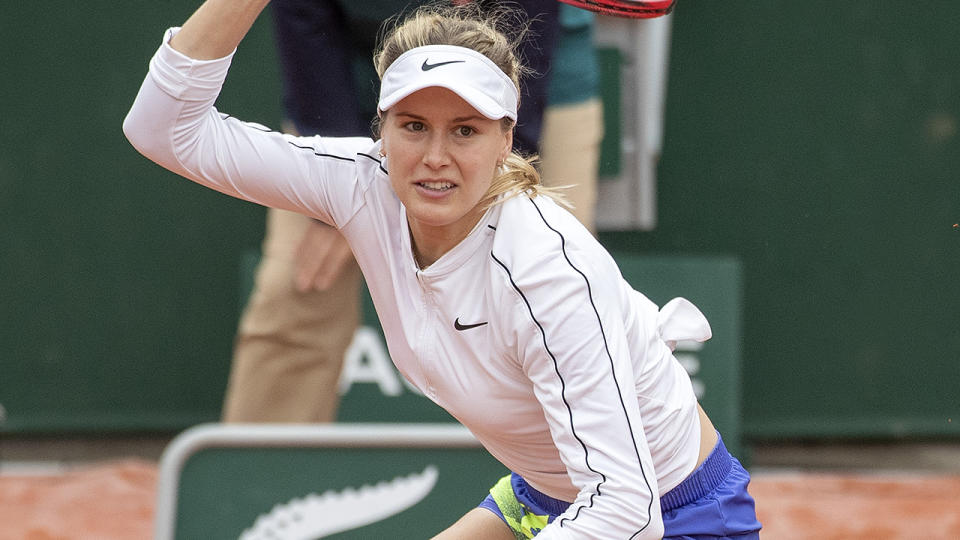Eugenie Bouchard, pictured here in action at the French Open in 2020.