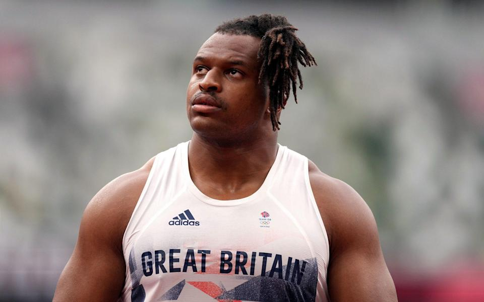Great Britain's Lawrence Okoye competes in the Discus during the athletics at the Olympic Stadium on the seventh day of the Tokyo 2020 Olympic Games in Japan. - PA