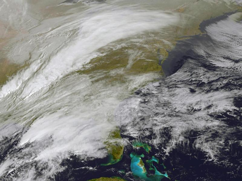 Satellite imagery shows storm activity over the eastern US (AFP/Getty)