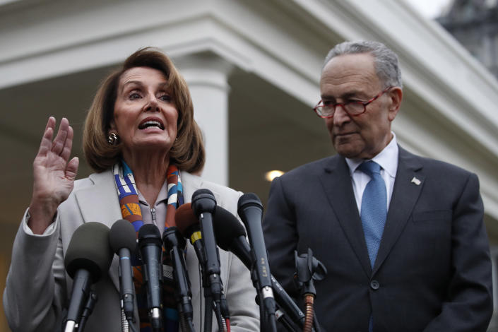 House Democratic leader Nancy Pelosi and Senate Minority Leader Chuck Schumer speak to the media after meeting at the White House with President Trump on border security on Jan. 2. (Photo: Jacquelyn Martin/AP)