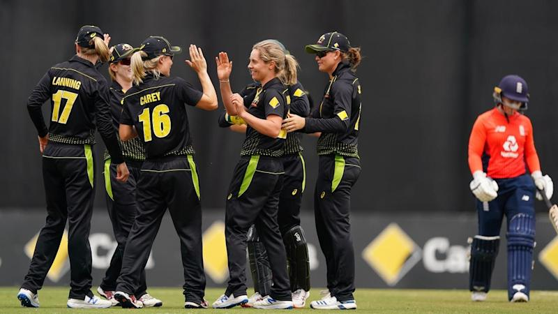 Sophie Molineux was Australia's chief wicket-taker in their T20 win over England at Junction Oval