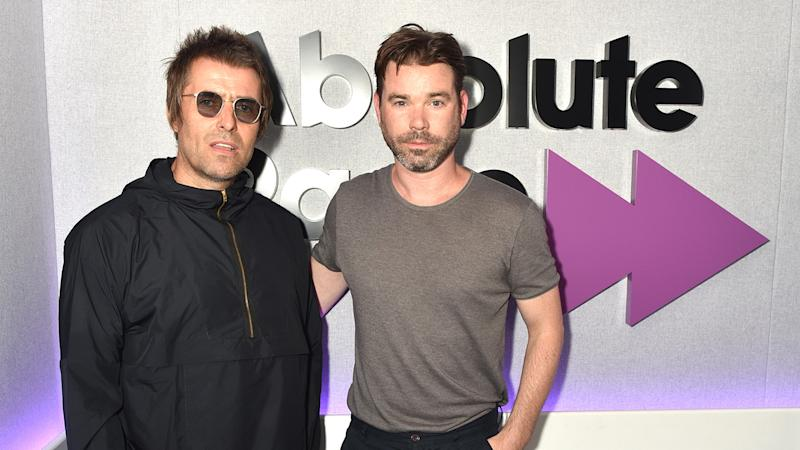 Liam Gallagher with Dave Berry during a visit at Absolute Radio