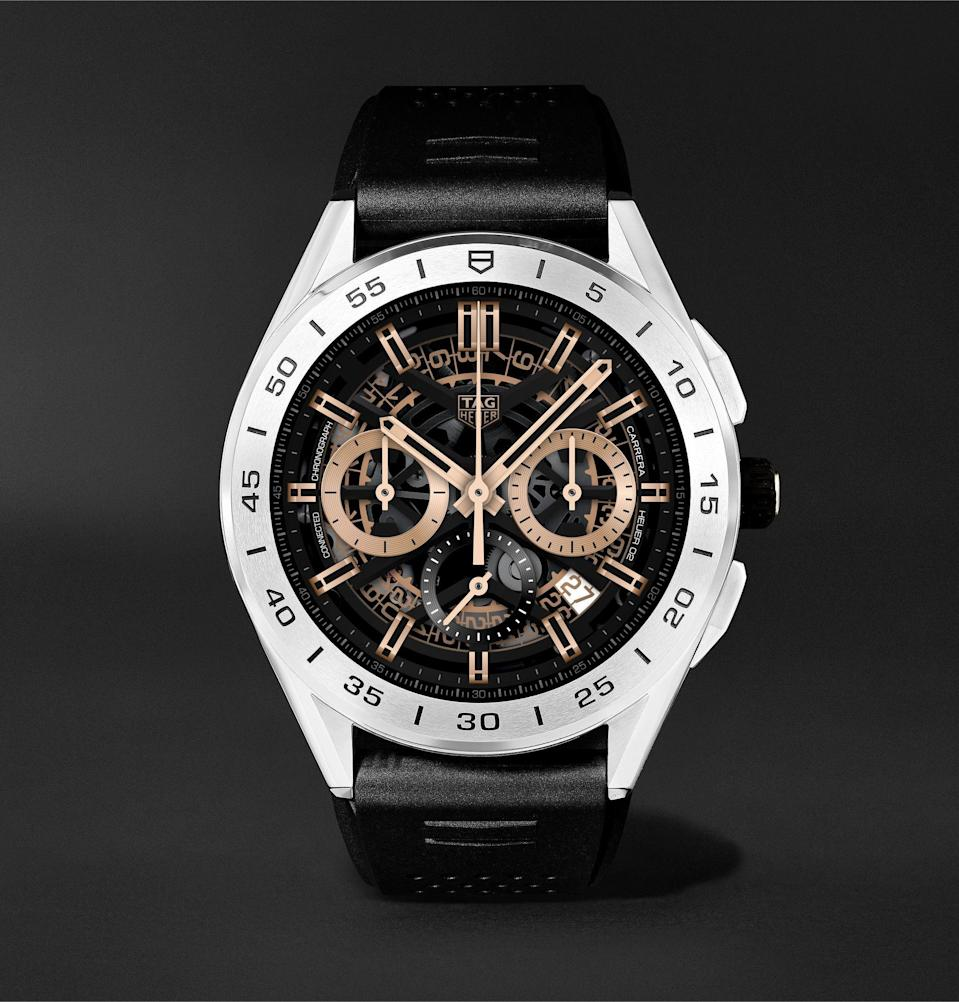 """<p><strong>TAG Heuer</strong></p><p>mrporter.com</p><p><strong>$1800.00</strong></p><p><a href=""""https://go.redirectingat.com?id=74968X1596630&url=https%3A%2F%2Fwww.mrporter.com%2Fen-us%2Fmens%2Fproduct%2Ftag-heuer%2Fluxury-watches%2Fsmart-watches%2Fconnected-modular-45mm-steel-and-rubber-smart-watch-ref-no-sbg8a12bt6219%2F10516758728974073&sref=https%3A%2F%2Fwww.menshealth.com%2Fstyle%2Fg33482000%2Fbest-smart-watches-for-men%2F"""" rel=""""nofollow noopener"""" target=""""_blank"""" data-ylk=""""slk:BUY IT HERE"""" class=""""link rapid-noclick-resp"""">BUY IT HERE </a></p><p>Here's a splurge you won't feel guilty about. Crafted with scratch-resistant sapphire crystal and refined design details, the TAG Heuer Connected smartwatch is powered by Wear OS and features a custom-built sports tracking app with GPS and heart rate sensors to serve as your go-to for everything from golf and running, to at-home workouts. Pair with your smartphone to receive calls, SMS messages, and email notifications. Need more color? <a href=""""https://www.tagheuer.com/us/en/smartwatches/collections/tag-heuer-connected/45-mm/SBG8A11.BA0646.html"""" rel=""""nofollow noopener"""" target=""""_blank"""" data-ylk=""""slk:Check out the new summer-inspired edition of the TAG Heuer Connected"""" class=""""link rapid-noclick-resp"""">Check out the new summer-inspired edition of the TAG Heuer Connected</a>.</p>"""