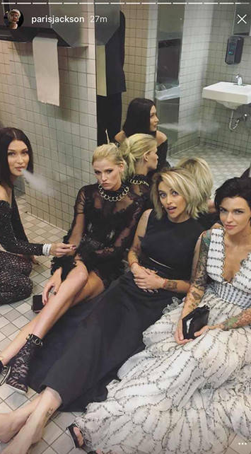 Lighting up in the toilets sparked a huge scandal for celebs who angered Met donors and VIPs last year. Photo: Instagram/parisjackson