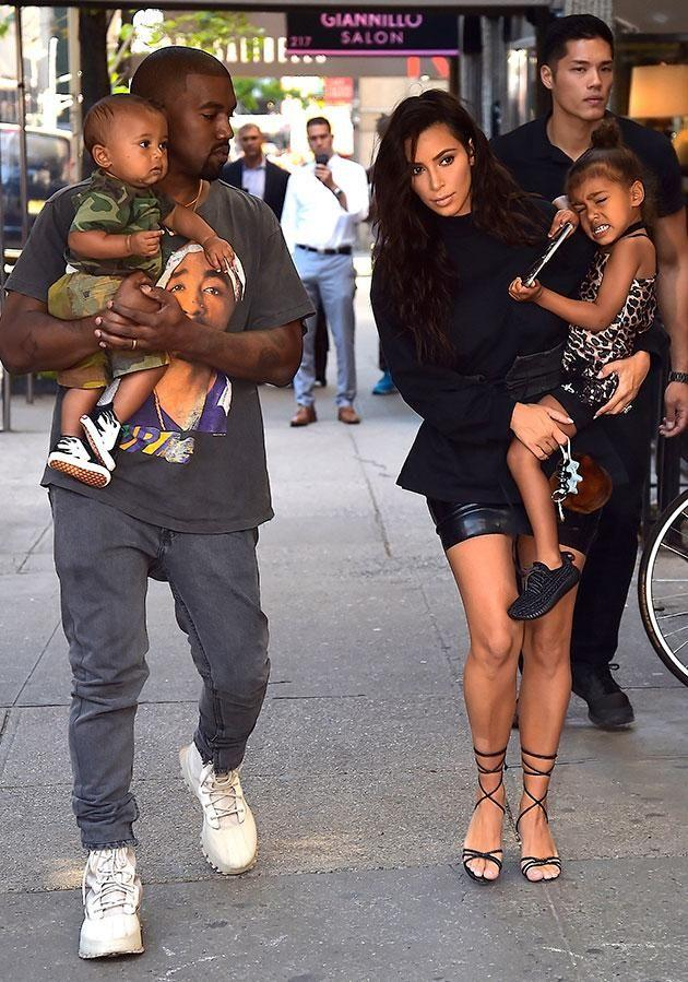Kim and Kanye takes their children North and Saint out for a day in the city. Source: Getty
