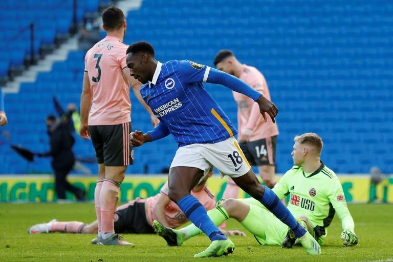 Danny Welbeck celebrates scoring for Brighton against Sheffield United