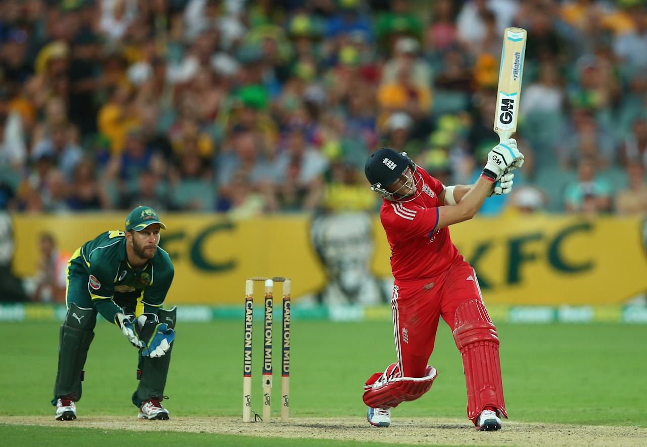 ADELAIDE, AUSTRALIA - JANUARY 26: Joe Root of England hits a six during game five of the One Day International Series between Australia and England at Adelaide Oval on January 26, 2014 in Adelaide, Australia.  (Photo by Robert Cianflone/Getty Images)