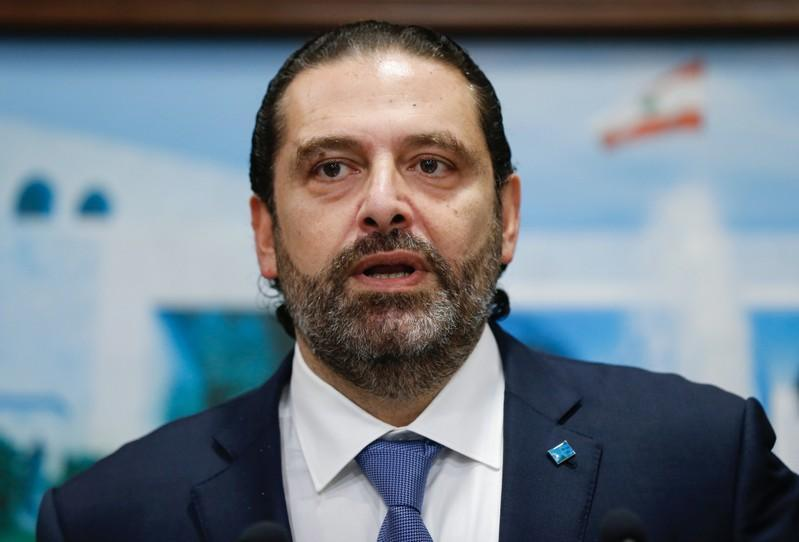 Lebanon's Prime Minister Saad al-Hariri speaks during a news conference after a cabinet session at the Baabda palace