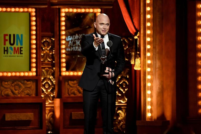 """Fun Home"" star Michael Cerveris accepts the Tony for lead actor in a musical in 2015."