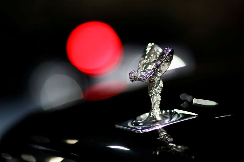 """FILE PHOTO: The """"Spirit of Ecstasy"""" bonnet ornament of a Rolls-Royce car is seen at the headquarters of Chabe, Chauffeured Cars Services, in Nanterre"""