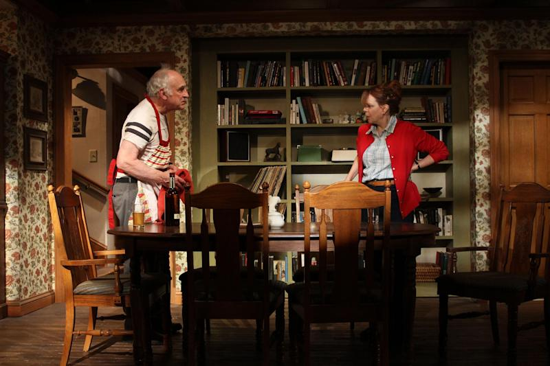 """This undated publicity photo released by O+M Co. shows, from left, Jeffrey DeMunn and Deirdre O'Connell in a scene from Bob Glaudini's new play, """"A Family For All Occasions,"""" currently presented off-Broadway by Labyrinth Theater Company at the Bank Street Theater in New York.  (AP Photo/O+M Co., Carter Smith)"""