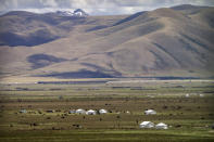 Yaks graze around tents set up for herders to live in the during the summer grazing season on grasslands near Lhasa in western China's Tibet Autonomous Region, as seen during a rare government-led tour of the region for foreign journalists, Wednesday, June 2, 2021. Long defined by its Buddhist culture, Tibet is facing a push for assimilation and political orthodoxy under China's ruling Communist Party. (AP Photo/Mark Schiefelbein)