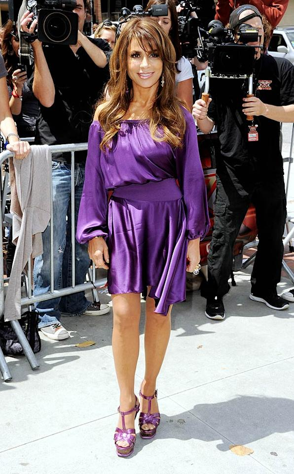 """Paula Abdul is back and looking better than ever! The 48-year-old """"Straight Up"""" singer arrived in style at the first round of auditions for Fox's """"The X Factor"""" -- which she'll be judging alongside Simon Cowell come fall -- in a purple draped Yves St. Laurent dress and matching YSL sandals. Kevin Winter/<a href=""""http://www.gettyimages.com/"""" target=""""new"""">GettyImages.com</a> - May 8, 2011"""