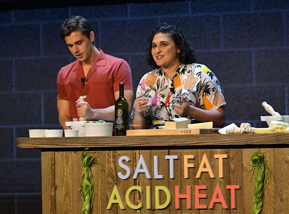 Antoni Porowski and Samin Nosrat share the staged at a Netflix event in May 2019, each representing their respective Netflix shows. (Photo: Emma McIntyre via Getty Images)