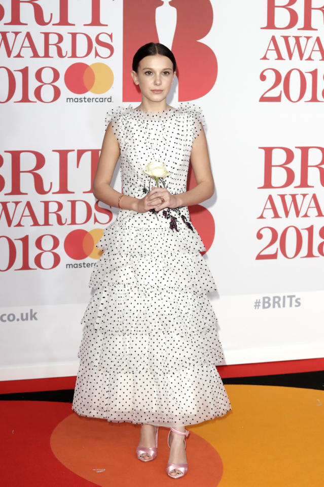 Millie Bobby Brown at the BRIT Awards in London in February. (Photo: Getty Images)
