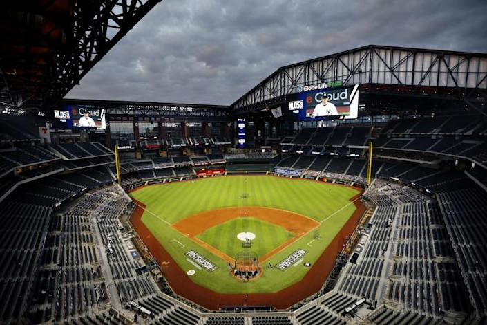 The roof is open before the San Diego Padres played the Los Angeles