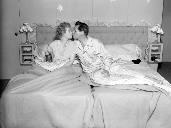 """<p>Lucille Ball and Desi Arnaz, who were married in real life, had to follow the code's requirements that actors portraying married couples had to <a href=""""https://abcnews.go.com/Entertainment/things-hollywood-banned-showing-now-ridiculous/story?id=28844678"""" rel=""""nofollow noopener"""" target=""""_blank"""" data-ylk=""""slk:sleep in separate beds"""" class=""""link rapid-noclick-resp"""">sleep in separate beds</a>. </p>"""