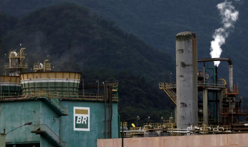 The logo of Petrobras, state-controlled Petroleo Brasileiro SA, is seen at President Bernardes Refinery in Cubatao