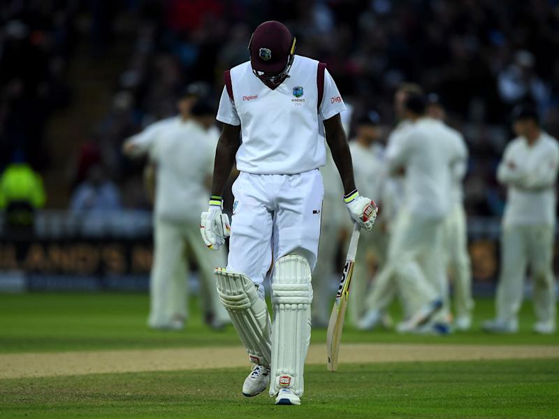 West Indies captain Jason Holder leaves the field after being dismissed by Stuart Broad: Getty