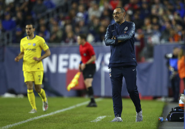 Chelsea head coach Maurizio Sarri on the sideline during the second half of a friendly soccer match against the New England Revolution, Wednesday, May 15, 2019, in Foxborough, Mass. (AP Photo/Stew Milne)