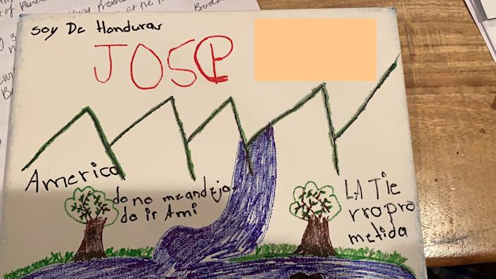 Jose, 11, draws the United States and the Rio Grande River. He writes,