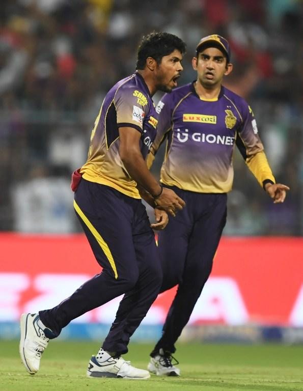 <p>Kolkata Knight Riders cricketer Umesh Yadav(L)and captain Gautam Gambhir celebrate after taking the wicket of Rising Pune Supergiants cricketer Ajinkya Rahane during the 2017 Indian Premier League (IPL) Twenty20 cricket match between Kolkata Knight Riders and Rising Pune Supergiants at The Eden Gardens Cricket Stadium in Kolkata on May 3, 2017. </p>