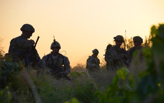 Canadian and American troops on a joint patrol in late June 2011. Afghan-Canadian advisers were critical to the work of both armies during combat operations. (Murray Brewster/The Canadian Press                                                  - image credit)
