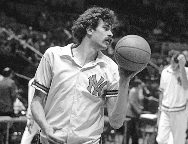 """FILE - In this undated file photo, New York Knicks' Phil Jackson warms up for an NBA basketball game. Jackson will be introduced as the newest member of the New York Knicks' front office Tuesday morning, according to a person familiar with the negotiations between the 11-time champion coach and the team. The person spoke on condition of anonymity on Friday, March 14, 2014, because the Knicks would only confirm that a """"major announcement"""" involving team executives was scheduled. (AP Photo/File)"""